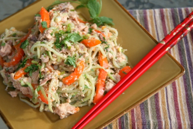 Cucumber noodles with salmon