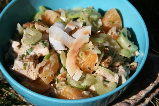 Turkey salad with celery and clementines