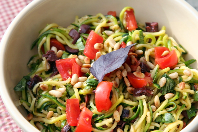 Tomato Basil Salad on Zucchini Noodles 2014