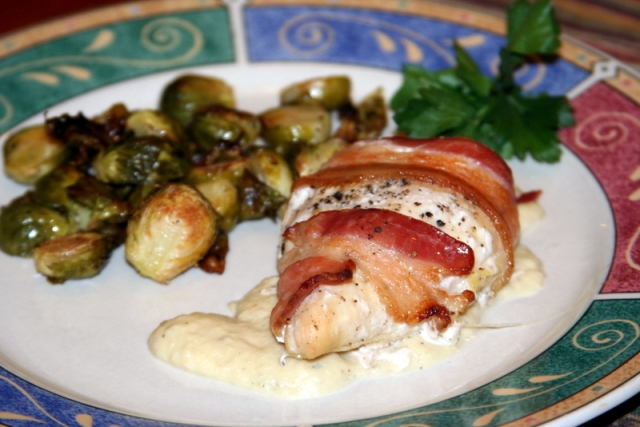 Bacon-wrapped Chicken with Roasted Onion Gravy 2014